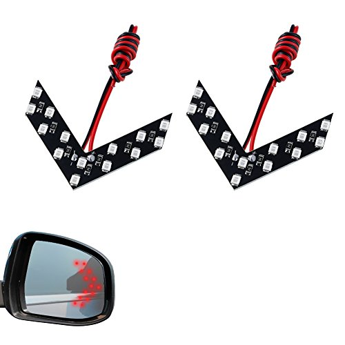 Indicator Panel - LEADTOPS 2 Pcs 14 SMD LED Arrow Panel For Car Rear View Mirror Indicator Turn Signal Light (Red)