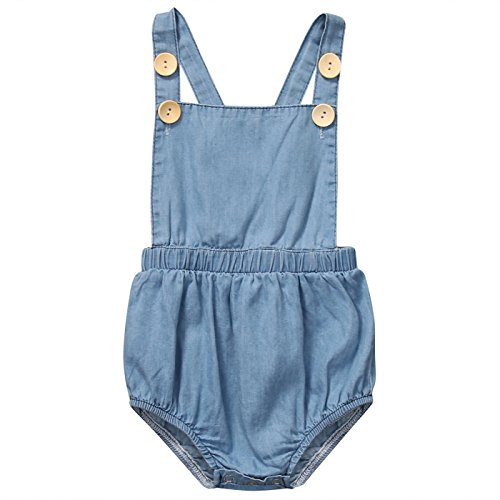 Halter Onesie (Infant Baby Newborn Girls Boys Buttons Romper Halter Backless Bodysuit Outfit (70 (0-6M), Light blue))