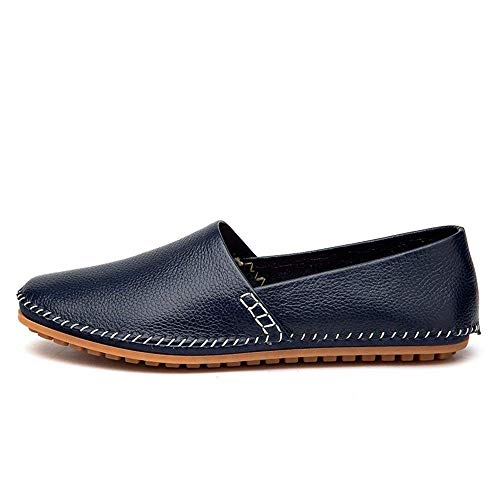 Colore Mocassini confortevole Scarpe Nobile pelle 4 uomo Nero puro in casuale in colore Minimalismo Taglia barca uomo Blu Cuoio Passeggiata 88xpZrq5w