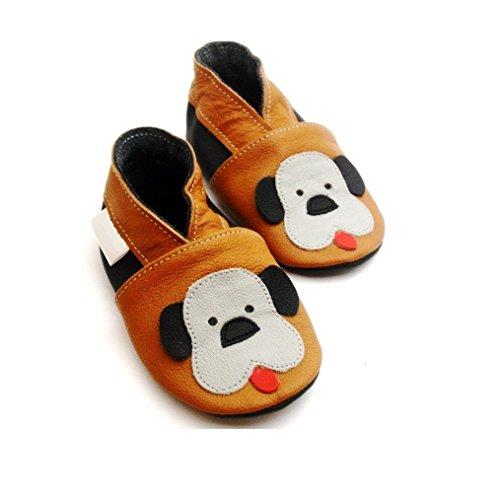 Oulique ® einzigartige Baby-und Kinderlederschuhe Hund, weiche rutschfeste Pantoffeln (2-3 J)