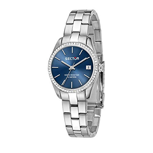SECTOR Women's 240 Quartz Sport Watch with Stainless-Steel Strap, Silver, 16 (Model: R3253240505