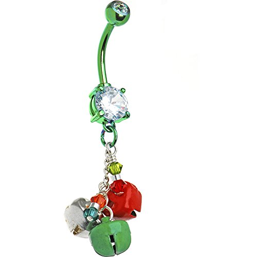 Body Candy Handcrafted Holiday Red and Green Jingle Bells Belly Button Ring