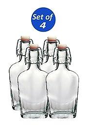 Bormioli Rocco Fiaschetta Glass 8.5 Ounce Pocket Flask, Set of 4