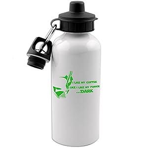 Funny Dark Side Force Darth Vader Coffee Joke 20 OZ White Aluminum Water Bottle (LIME GREEN)