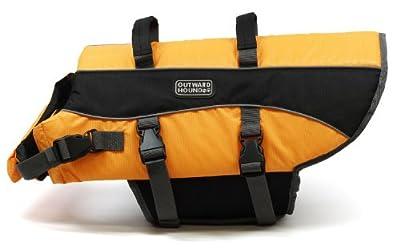 Kyjen 2518 Dog Life Jacket Quick Release Easy-Fit Adjustable Dog Life Preserver, Large, Orange