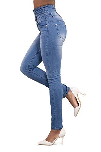 Simple Vita Con Quotidiani fashion Pants Azzurro Skinny A Sexy Alta Denim Pantaloni Bottoni Jeans Lungo Moda Donna rCrRqw60xP