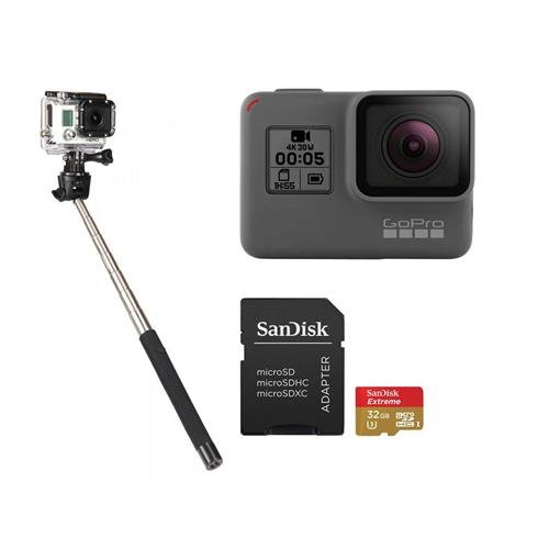 GoPro HERO5 Black - Bundle with 32GB SDHC Card, and Selfie Stick