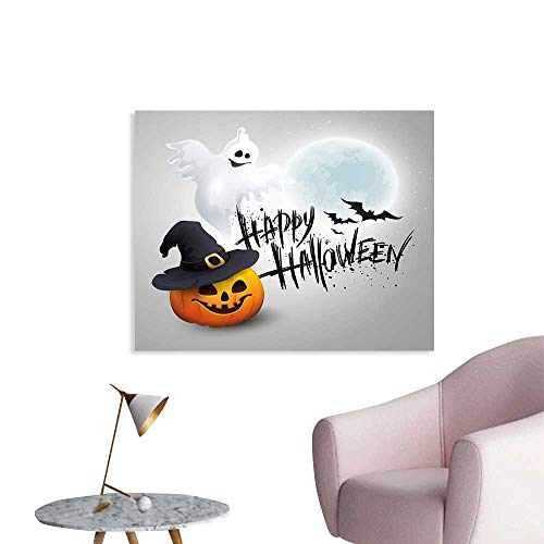 J Chief Sky Halloween Decals Happy Celebration Typography Stained Look Cute Ghost Pumpkin Hat Print Wall Stickers for Kids W48 xL32 ()