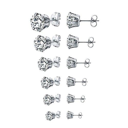 - Long Way Stainless Steel Stud Earrings set Cubic Zirconia Inlaid,3mm-8mm 6Paris