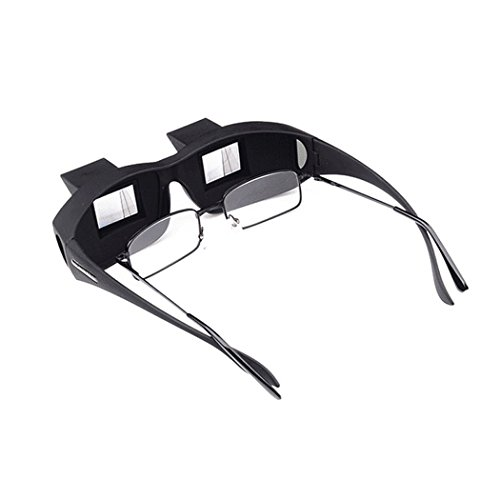 Xubox Healthcare Prism Eye Glasses, Horizontal High Definition Prism Eye Glasses Bed Prism Spectacles Lazy Spectacles Lie Down for Reading, Watching TV, Universal Myopia Usable