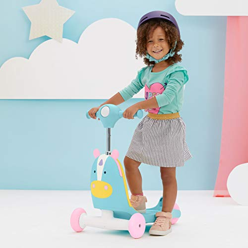 413lRuIlKaL - Skip Hop Kids 3-in-1 Ride On Scooter and Wagon Toy, Unicorn