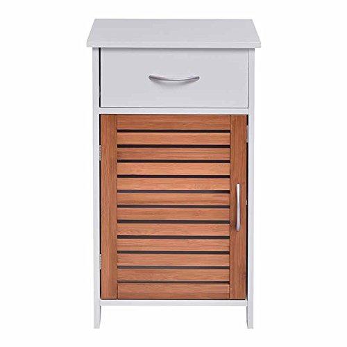 WATERJOY Storage Cabinet, Wooden Floor Cabinet Shutter Door Drawer, Elegant Bedside Cabinet Bathroom, Bedroom Living Room, White by WATERJOY (Image #5)