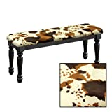 Traditional Farmhouse Style Dining Bench with Black Legs and a Padded Seat Cushion Featuring Your Choice of an Animal Print Fabric Covered Bench Top (Cowhide Faux Fur)