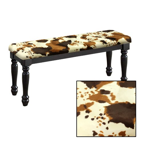 Traditional Farmhouse Style Dining Bench with Black Legs and a Padded Seat Cushion Featuring Your Choice of an Animal Print Fabric Covered Bench Top (Cowhide Faux Fur) by The Furniture Cove