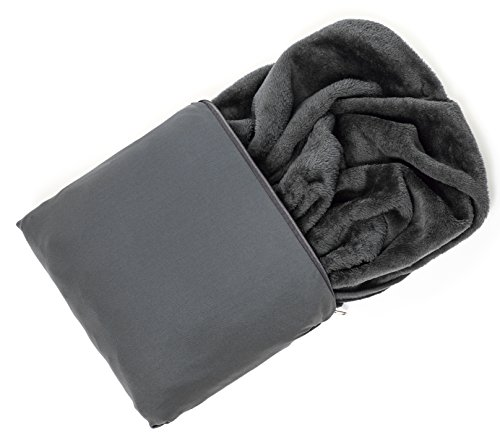 Travelrest 4-in-1 Premier Class Travel Blanket with Zipped Pocket - Soft & Luxurious - Also Use As Lumbar Support or Neck Pillow (Includes Stuff Sack) ()
