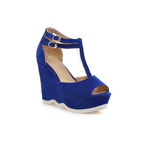 AgooLar Mujeres Hebilla Puntera Abierta Plataforma Sólido Sandalia Azul