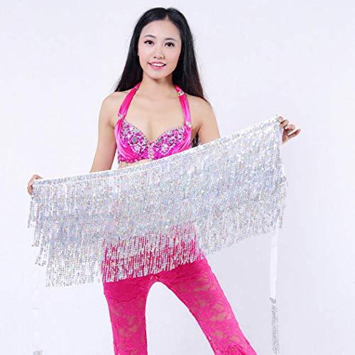 Clearance!!Womens Sequin Belly Dancer Costume,Ladies Tassel Wrap Skirt Club Mini Skirt (Free, Silver)