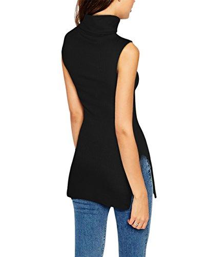 HyBrid & Company Womens Super Comfy Sleeveless Turtleneck Tunic Sweater KT45224 51347 Black M