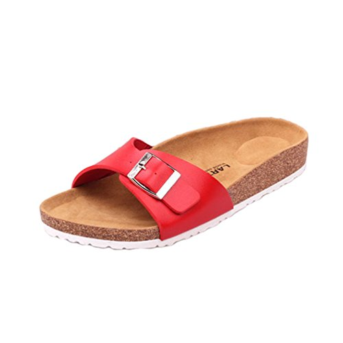 Scarpe con Pantofola Rosso Ciabatte Spiaggia Pelle Peep Estivi Donna Finta Pantofole Cinturino Toe Sandali Casuale Cayuan 7UqxwAff