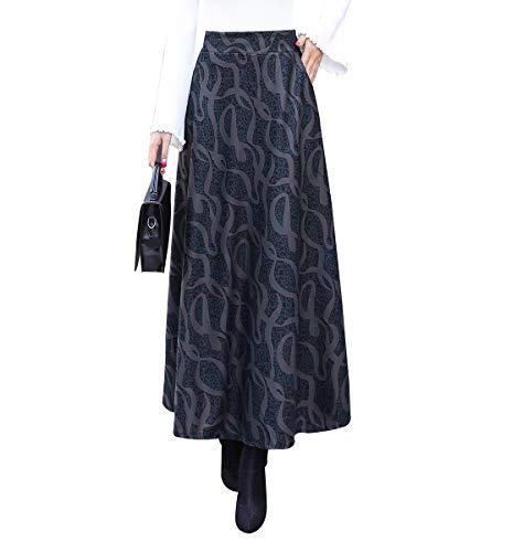 Femme lgant Carreaux ray Longue Jupes de Laine Automne Hiver Taille lastique Chaud A-Ligne Taille Haute Jupe plisse Couleur 3