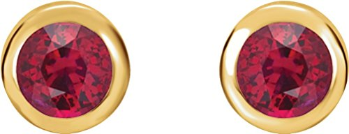 Chatham Created Ruby Earrings, 14k Yellow Gold by The Men's Jewelry Store (Unisex Jewelry)