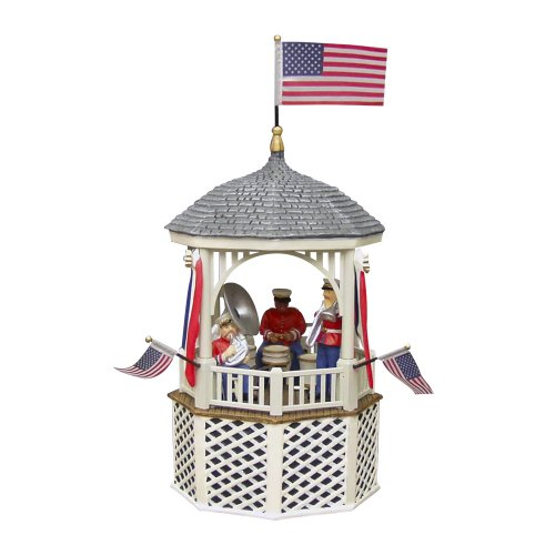 56 Heritage Village - Department 56 Heritage Village, Dicken's Collection Stars and Stripes Gazebo Music Box 55502, Dept 56, D56, Porcelain Collectible, Retired