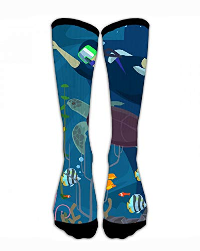SARA NELL Classic Compression Socks Scuba Diving Sea Life Scuba Diving Sea Life Personalized Sport Athletic 44Cm Long Crew Compression Socks for Men Women