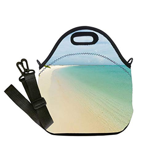 Custom Digital Printing Insulated Lunch Bag,Neoprene Lunch Tote Bags Beautiful beach with colorful water in Key Horseshoe Caribbean Sea Student Company School, Multicolor, Adults and Children ()