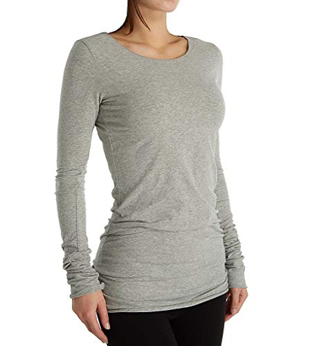 Hard Tail Women's Long Skinny Crew Neck Tee SL-35 S Heather Gray
