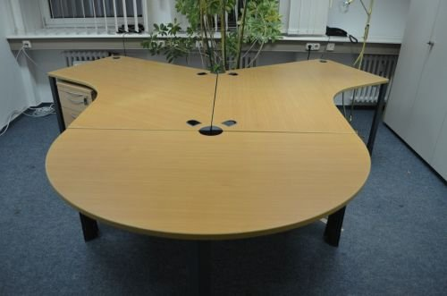 Mesa de escritorio 210 x 80 cm, de madera de haya, con módulo ...