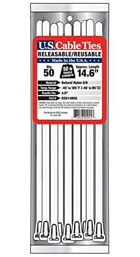 [해외]미국 케이블 타이 RSD14N50 14 인치 탈착 가능 타이, 내츄럴, 50 팩/US Cable Ties RSD14N50 14-Inch Releasable Ties, Natural, 50-Pack