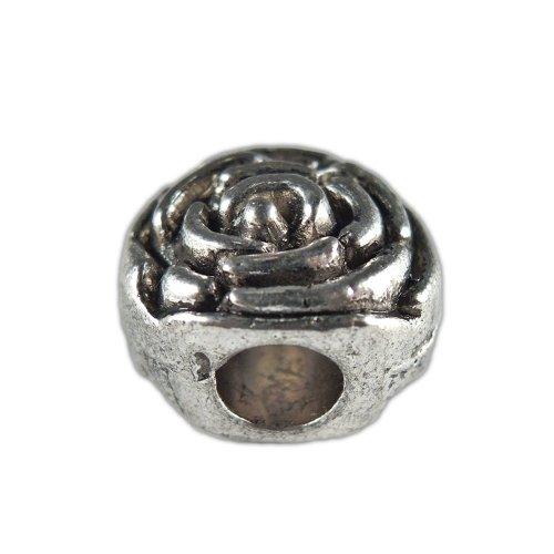 Rose Flower Shaped Antique Silver Tibetan Style European Bead - Lead & Cadmium Free