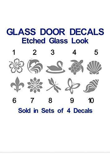 GLASS DOOR DECALS- *SAME DAY SHIPPING* - Sets of 4 or Set of 8 Decals - Stop people and animals from walking into the glass door. Etched Glass Look in your choice of designs.