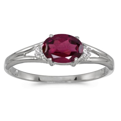 - 14k White Gold Oval Rhodolite Garnet And Diamond Ring (Size 7.5)