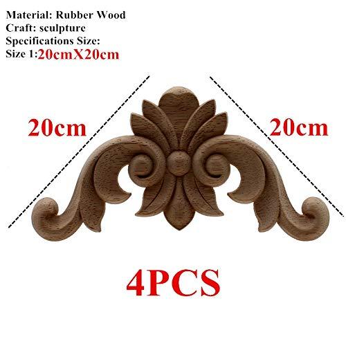 ARISLUX Craft DIY - 4 Pcs Vintage Unpainted Carved Corner Onlay Frame for Home Furniture Wall Cabinet Crafts