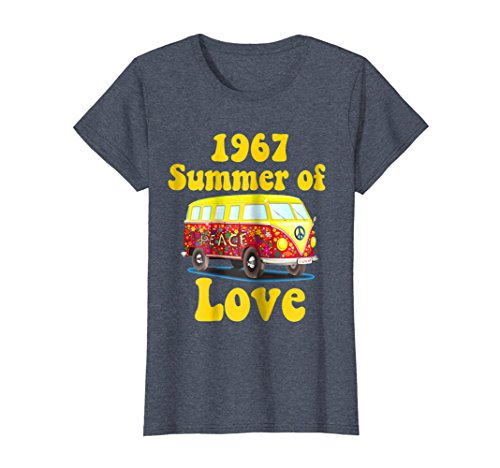 f17a87194619 Womens 1967 Summer of Love Retro Tees Vintage Sixties Hippie Shirt Small  Heather Blue