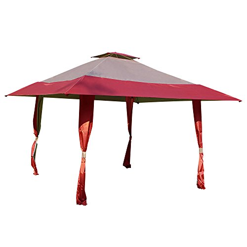 Cloud Mountain 13' x 13' Pop Up Canopy Outdoor Yard Patio Double Roof Easy Set Up Canopy Tent for Party Event, Burgundy Tan by Cloud Mountain