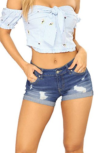 Occasionnels Darkblue A Solide Fort t Court Jeans Les Femmes PaqYwS