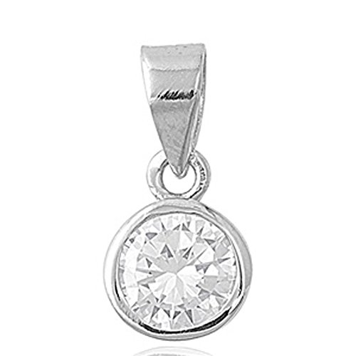 Solitaire Pendant Clear Simulated CZ .925 Sterling Silver Charm - Silver Jewelry Accessories Key Chain Bracelet Necklace Pendants