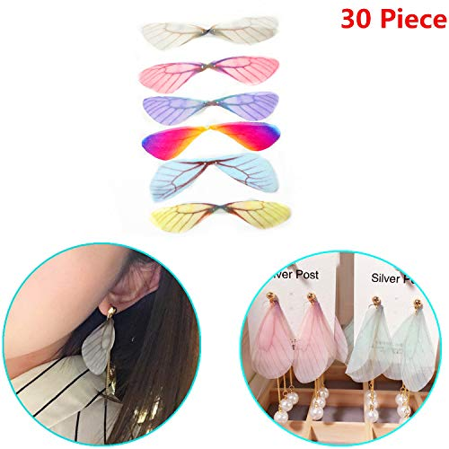 (Xinhongo 30 Piece Fashion Dragonfly Wings Charms for DIY Butterfly Dragonfly Wings Jewelry Crafts Making Earring Necklace Hair Clip Decoration (6 Color))