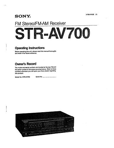 - Sony STR-AV700 Receiver Owners Manual