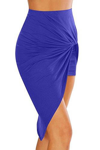 La Mujer Casual Asimetrica Acanalada Falda Bodycon Alto Bajo Ajustado Blue