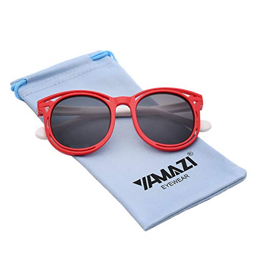 - YAMAZI Kids Polarized Sunglasses Sports Fashion For Boys Girls Toddler Baby And Children (Red&White, Gray)