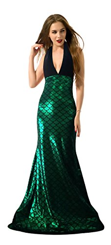 Women's Backless V-Neck Shiny Metallic Mermaid Costume Outfit Party Maxi Dress M