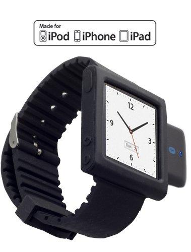 KOKKIA i10sWatch The Ultimate Watch. (i10s Luxurious Black, with iWatch Black iPod Nano 6G wrist band) Tiny Bluetooth iPod Transmitter with iPod Nano 6G wrist band (iPod Nano Not included).