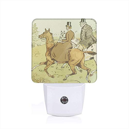 (British Colonial PaintingLED Night Light Plugin - Personalized Intelligent Night Lights Plugged Into The Wall with Automatic Dusk to Dawn Sensor for Corridors, Bedrooms, Bathrooms, Kitchens)