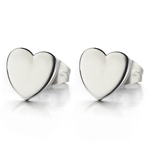 Paire Coeur Boucles d'oreilles Femme Filles - Clous d'oreille - Acier Inoxydable