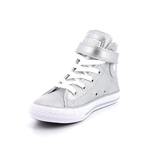 Converse Boys Chuck Taylor All Star Brea Hi Top Fashion Sneaker Shoe, Silver/White/White, 3