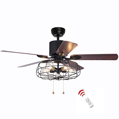 52 Inch Retro Industrial Ceiling Fan with Light 5 Wood Reversible Blade Fan Chandelier Remote Control Iron Cage Pendant Light Fan for Living Room Bronze Black