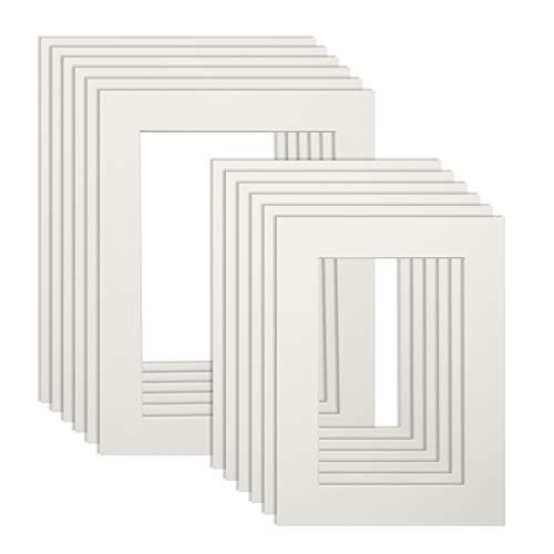(Upins 12 Pack White Picture Photo Mats,for 4 x 6 inch and 5 x 7 inch Photo)